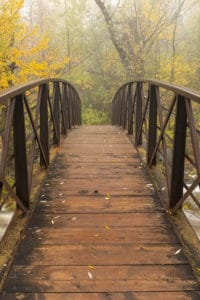 A footbridge over a creek in the woods in autumn, things to do in Duluth