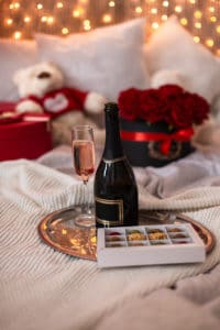 chocolate, a glass of champagne, roses at B&B the best places to stay in Duluth MN